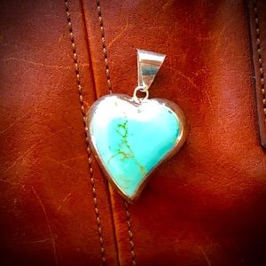 Jewelry - Turquoise and Silver Heart Pendant